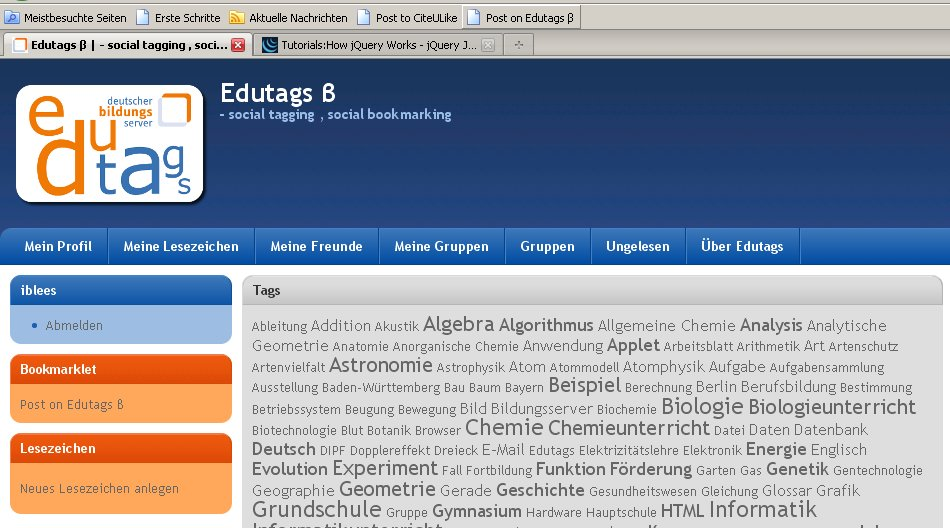 Screen von edutags