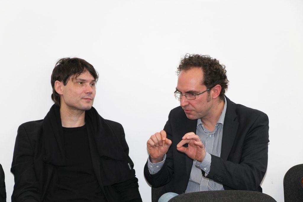 Prof. Dr. Griesbaum (Uni Hildesheim) und Dr. Christoph Schindler (rechts)
