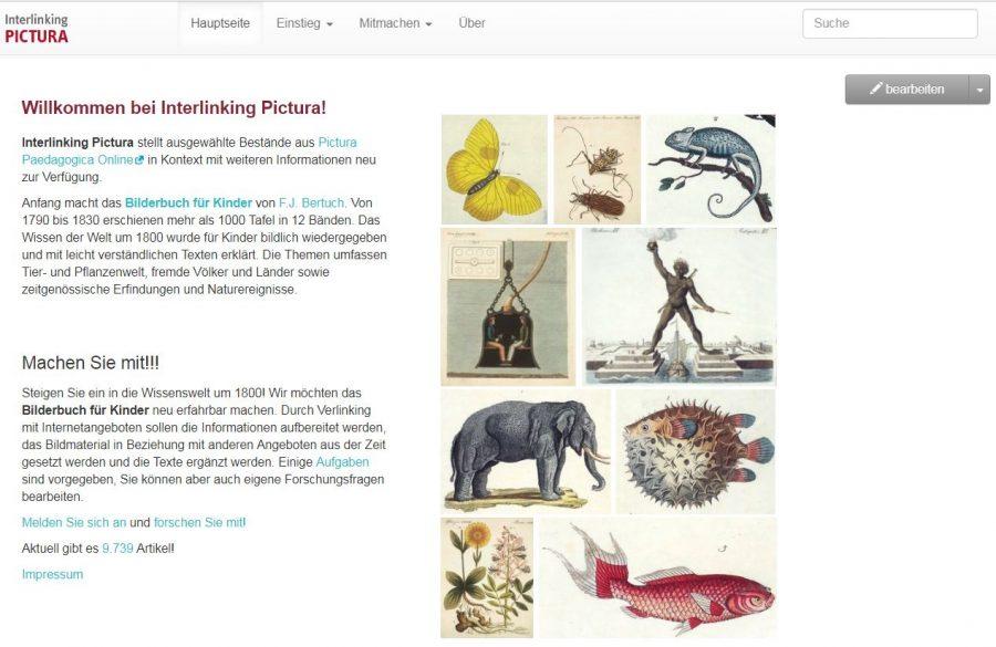 Startseite von Interlinkinp Pictura, ein Citizen Science Projekt für bildungshistorisch Interessierte.