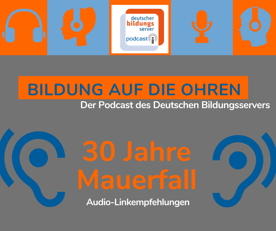 Sharepic zum DBS-Podcast: 30 Jahre Mauerfall