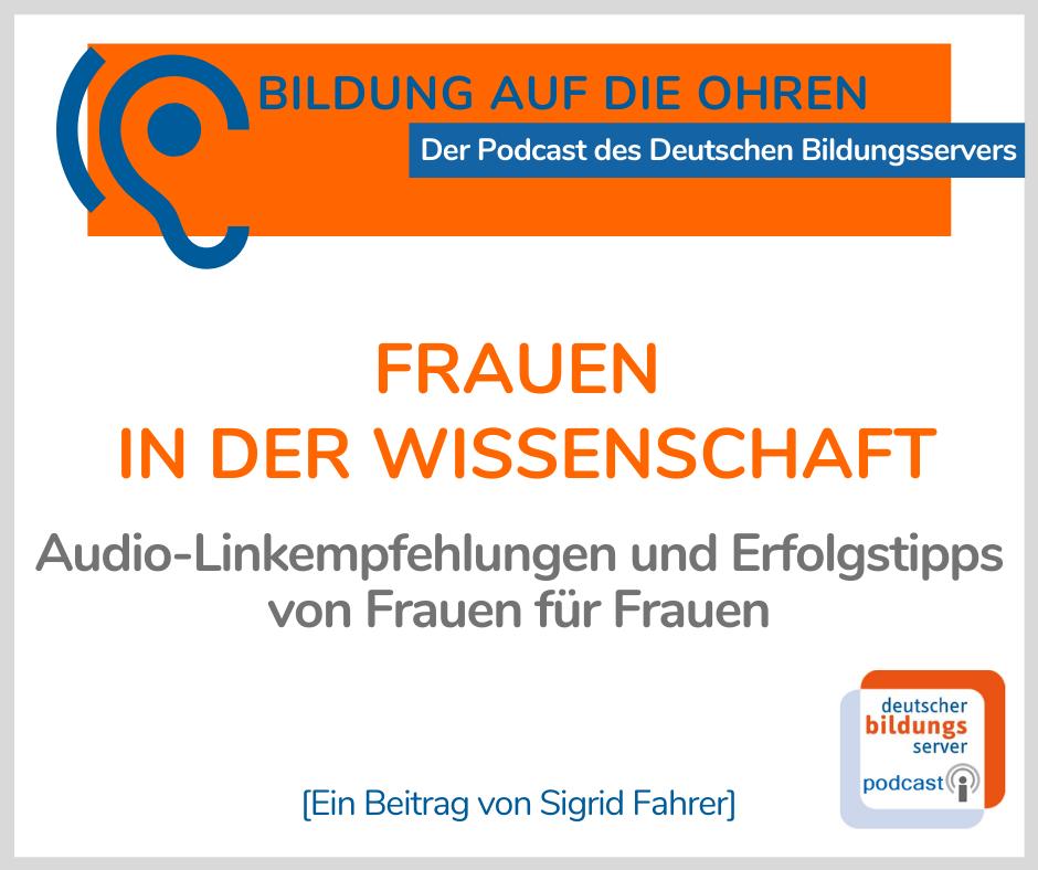 """Sharepic zum Beitrag """"Frauen in der Wissenschaft"""" mit Titel, Untertitel und Autorin"""