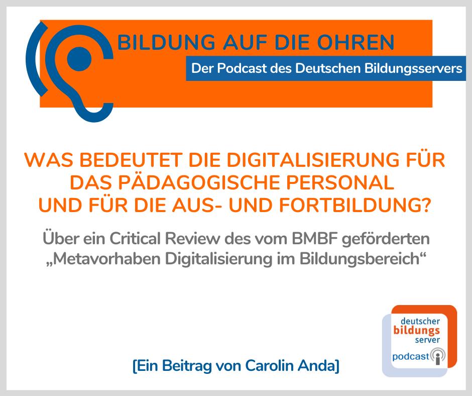 """Sharepic zum Podcast """"Was bedeutet die Digitalisierung für das pädagogische Personal und für die Aus- und Fortbildung?"""