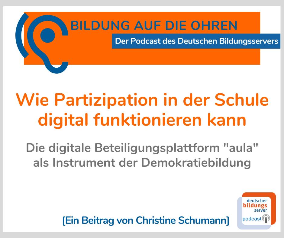 """Sharepic zum Podcast """"Wie Partizipation in der Schule digital funktionieren kann"""" mit Marina Weisband."""