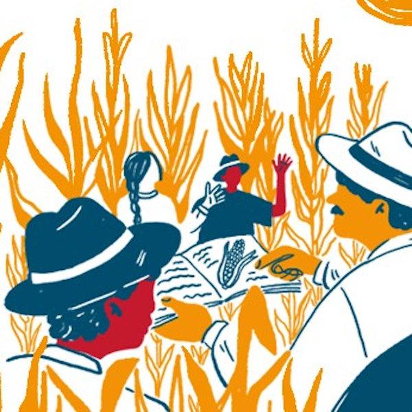 Grafik, in der Männer und Frauen auf Feldern und am Wasser abgebildet sind, die in Büchern und Zeitungen lesen.