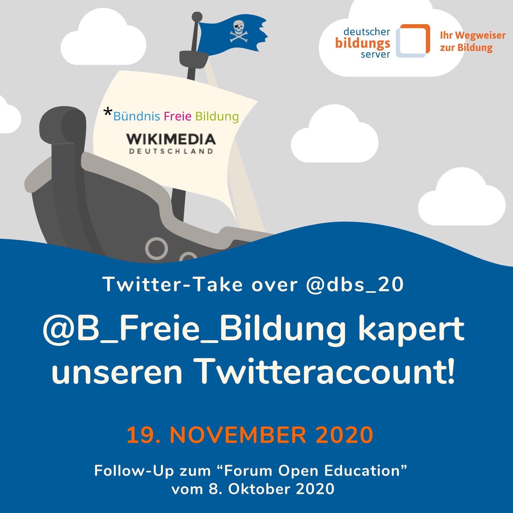 Sharepic zur Gastmoderation des DBS-Twitter-Accounts durch das Bündnis freie Bildung am 19. November