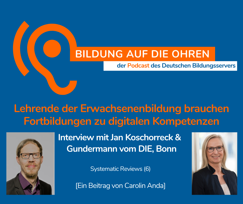 Sharepic zum Podcast - Interview mit Jan Koschorreck und Angelika Gundermann, DIE, in der Reihe Systematic Review