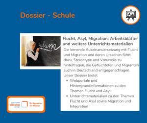 """Sharepic zum DBS-Dossier """" Flucht, Asyl, Migration - Arbeitsblätter und weitere Unterrichtsmaterialien"""" mit kurzer Inhaltsbeschreibung; illustriert durch ein Mädchen mit Kopftuch, das Asylum an die Tafel schreibt."""