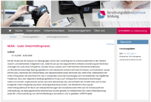 Screenshot der VERA-Studie im Portal FDZ BIldung