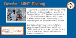 DBS-Dossier MINT Bildung beim Deutschen Bildungsserver mit Hyperlink auf das Dossier